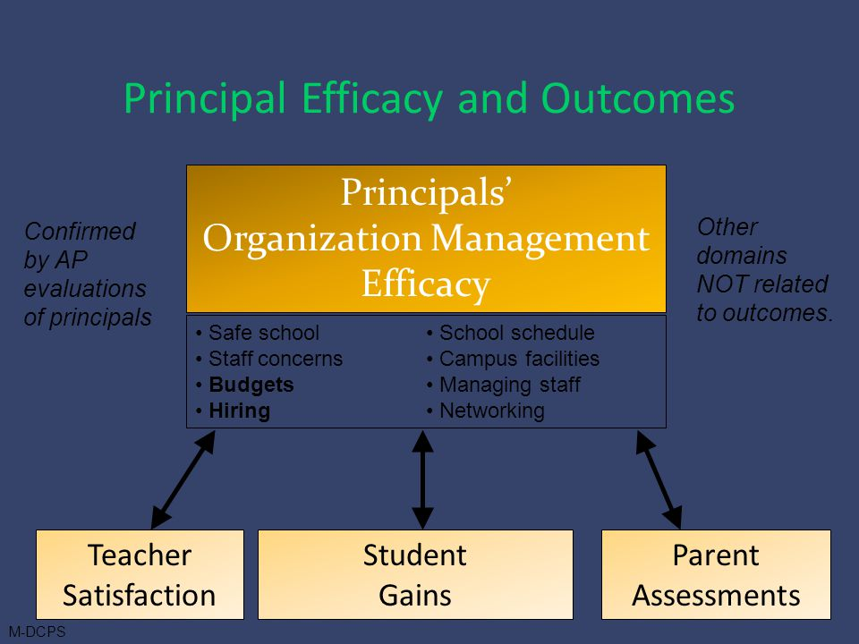 Principals' Organization Management Efficacy Teacher Satisfaction Parent Assessments Student Gains Other domains NOT related to outcomes.