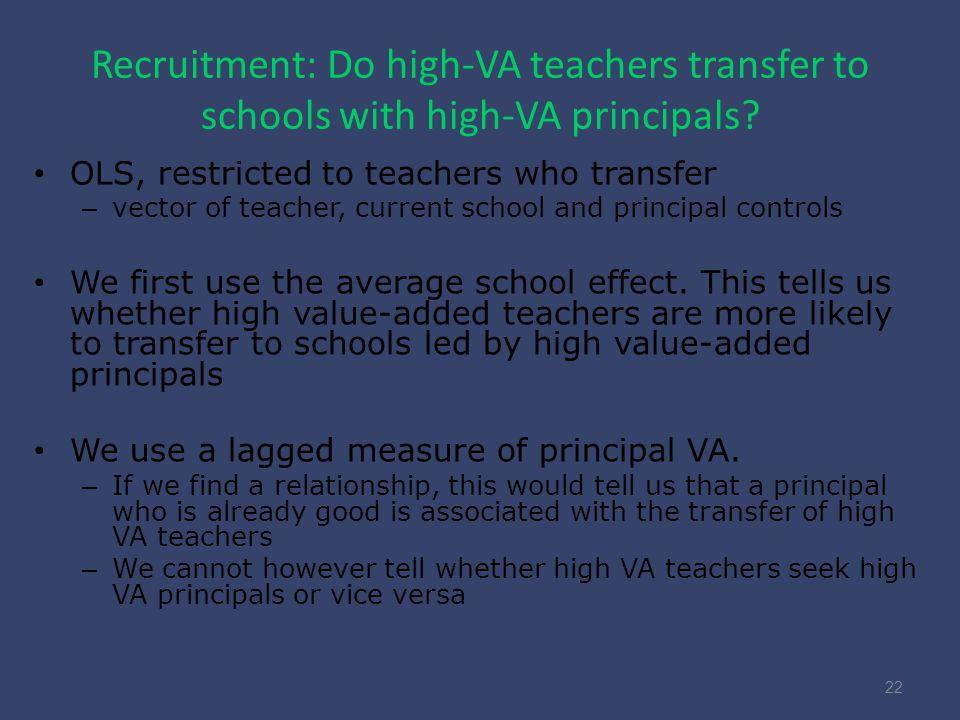 Recruitment: Do high-VA teachers transfer to schools with high-VA principals.