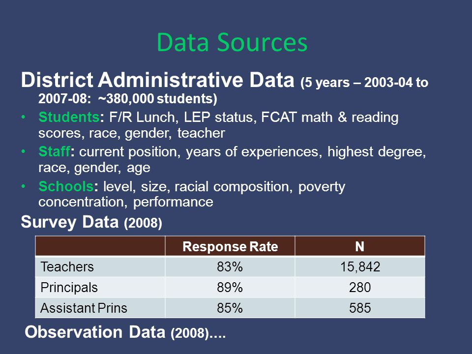 Schools' value-added to student achievement is our measure of effectiveness Outcome: Scaled FCAT score (math and reading) of student i in school s with principal j in year t minus the student's test score in the prior year.