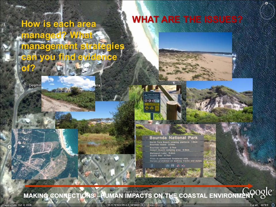 How is each area managed? What management strategies can you find evidence of? WHAT ARE THE ISSUES? MAKING CONNECTIONS –HUMAN IMPACTS ON THE COASTAL E