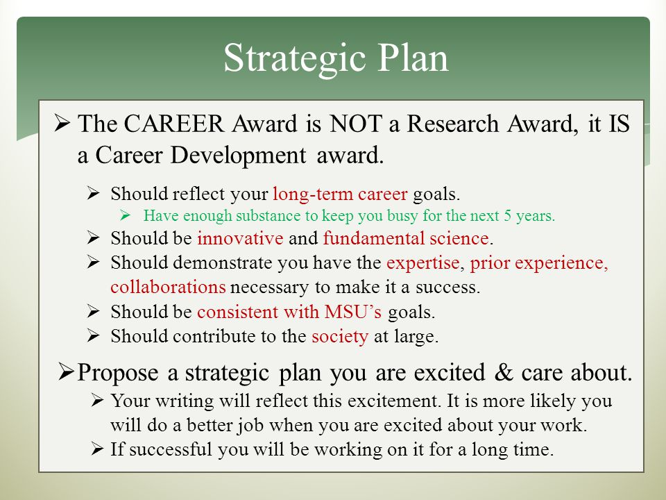 Strategic Plan  The CAREER Award is NOT a Research Award, it IS a Career Development award.