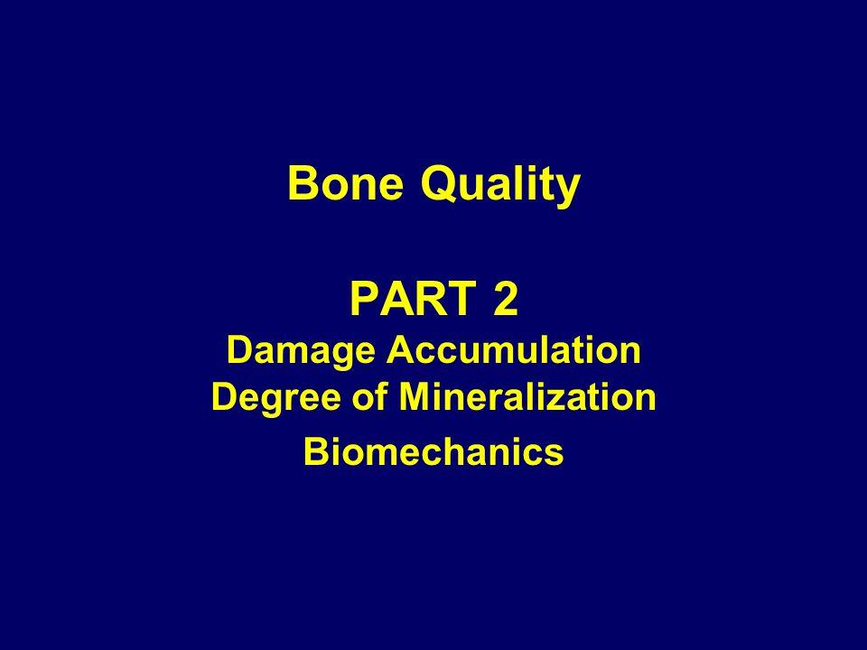 Bone Quality PART 2 Damage Accumulation Degree of Mineralization Biomechanics