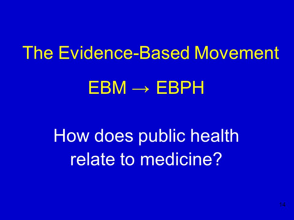 14 The Evidence-Based Movement EBM → EBPH How does public health relate to medicine?