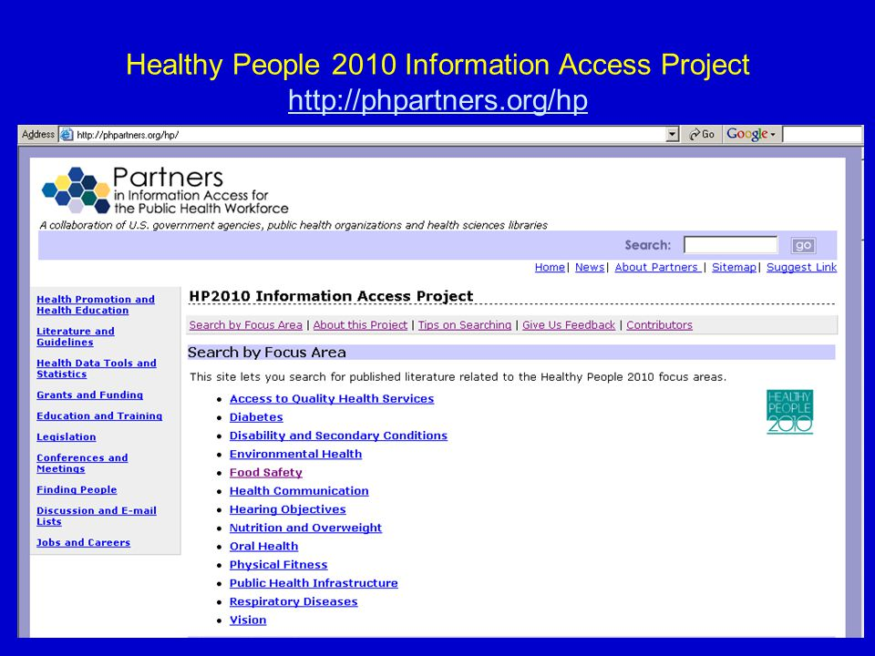 26 Healthy People 2010 Information Access Project http://phpartners.org/hp http://phpartners.org/hp