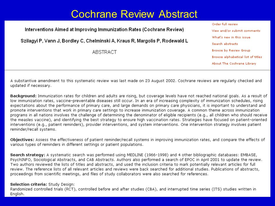 36 Cochrane Review Abstract