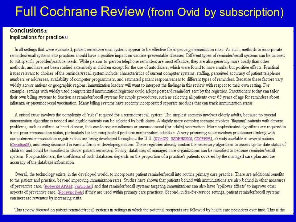 37 Full Cochrane Review (from Ovid by subscription)