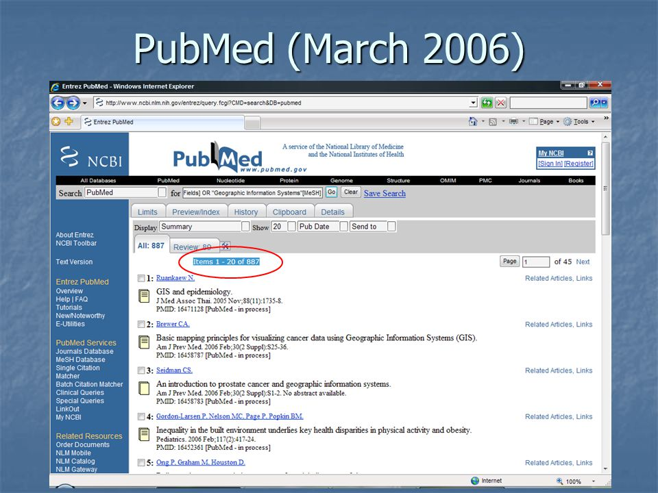 PubMed (March 2006)