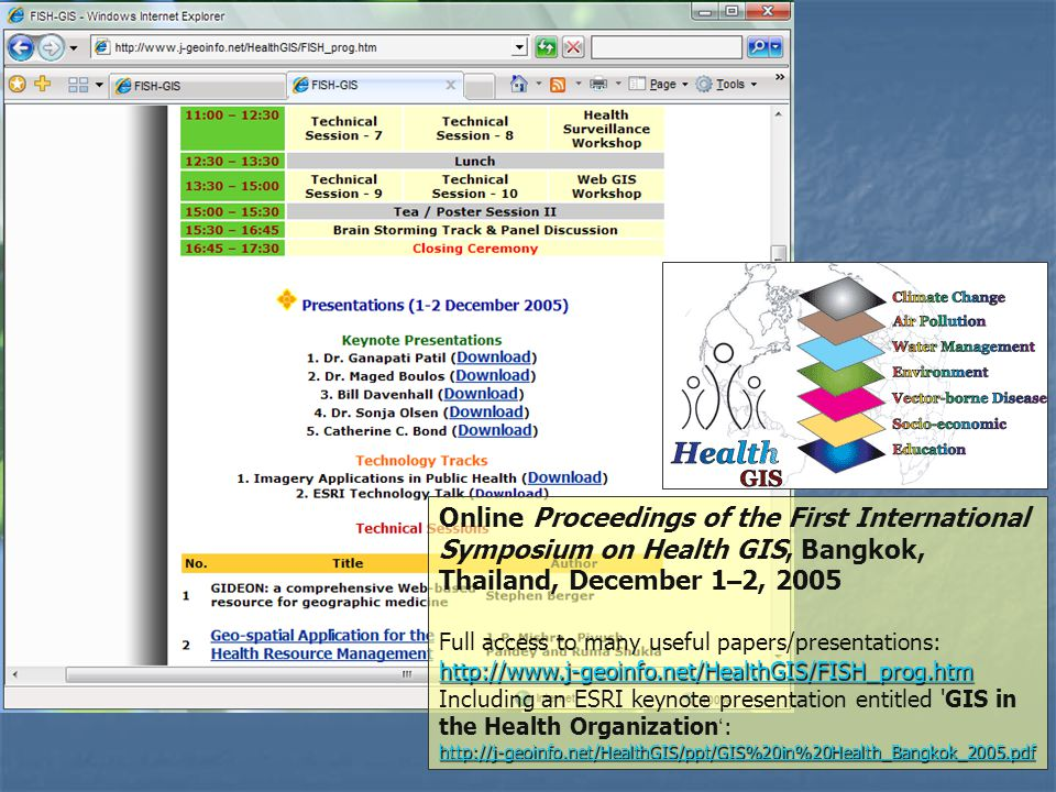 Online Proceedings of the First International Symposium on Health GIS, Bangkok, Thailand, December 1 – 2, 2005 Full access to many useful papers/prese
