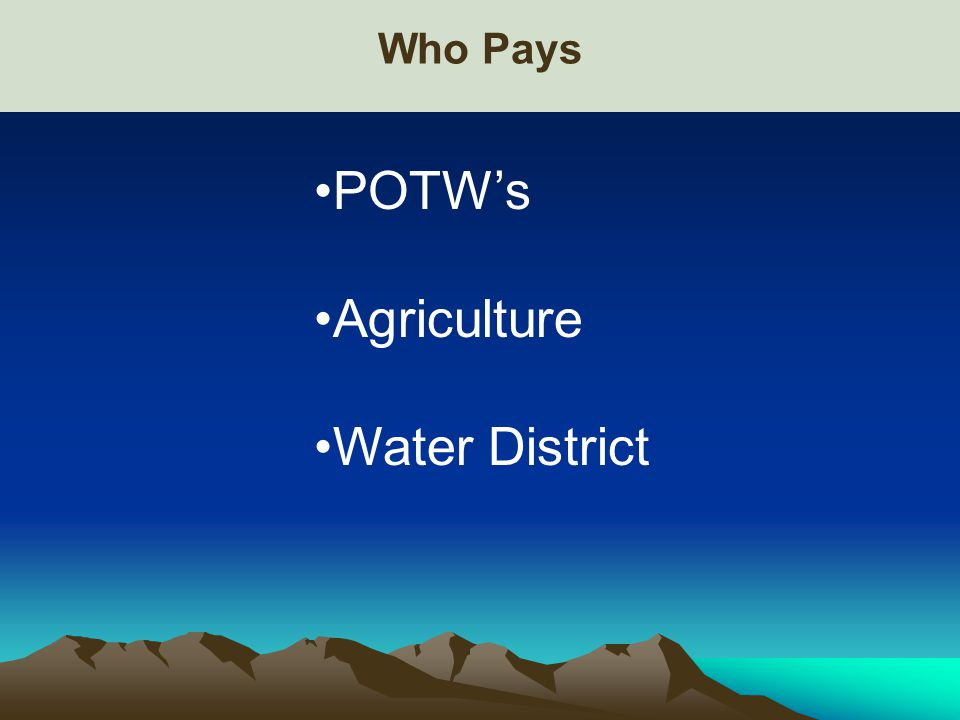 Who Pays POTW's Agriculture Water District