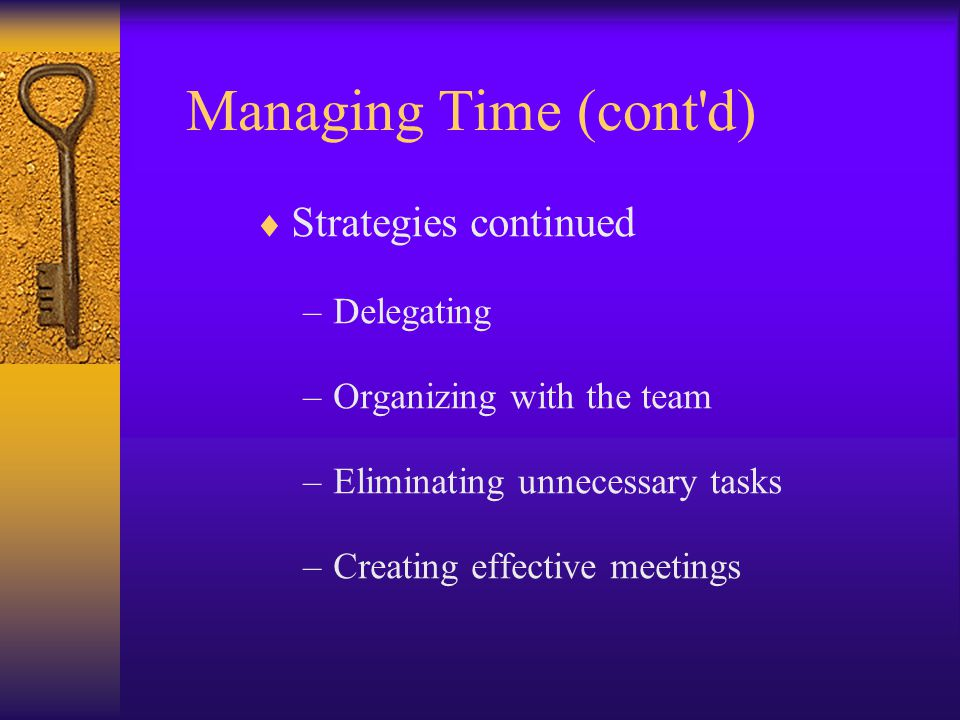  Strategies continued –Delegating –Organizing with the team –Eliminating unnecessary tasks –Creating effective meetings Managing Time (cont d)