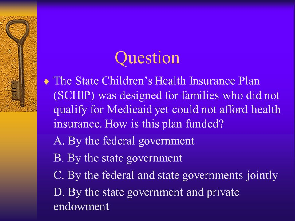 Question  The State Children's Health Insurance Plan (SCHIP) was designed for families who did not qualify for Medicaid yet could not afford health insurance.
