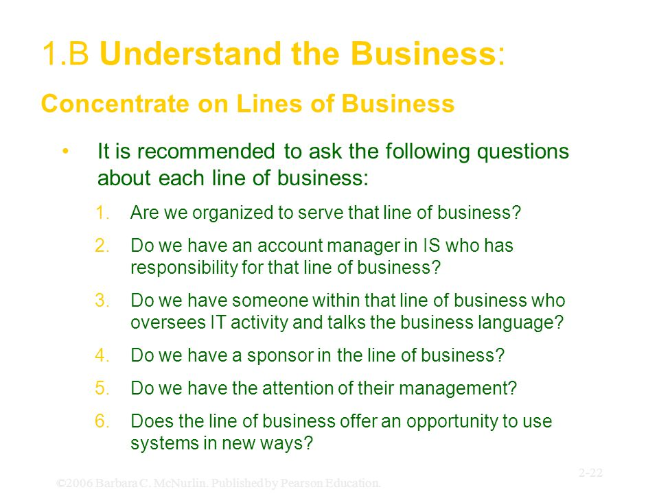 ©2006 Barbara C. McNurlin. Published by Pearson Education. 2-22 It is recommended to ask the following questions about each line of business: 1.Are we