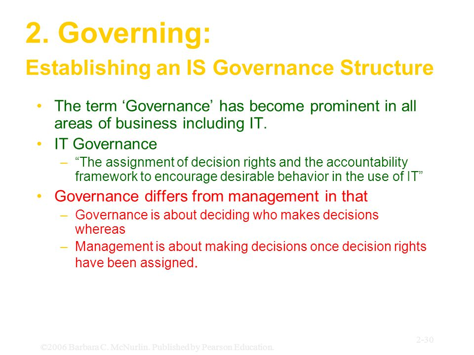 ©2006 Barbara C. McNurlin. Published by Pearson Education. 2-30 2. Governing: Establishing an IS Governance Structure The term 'Governance' has become