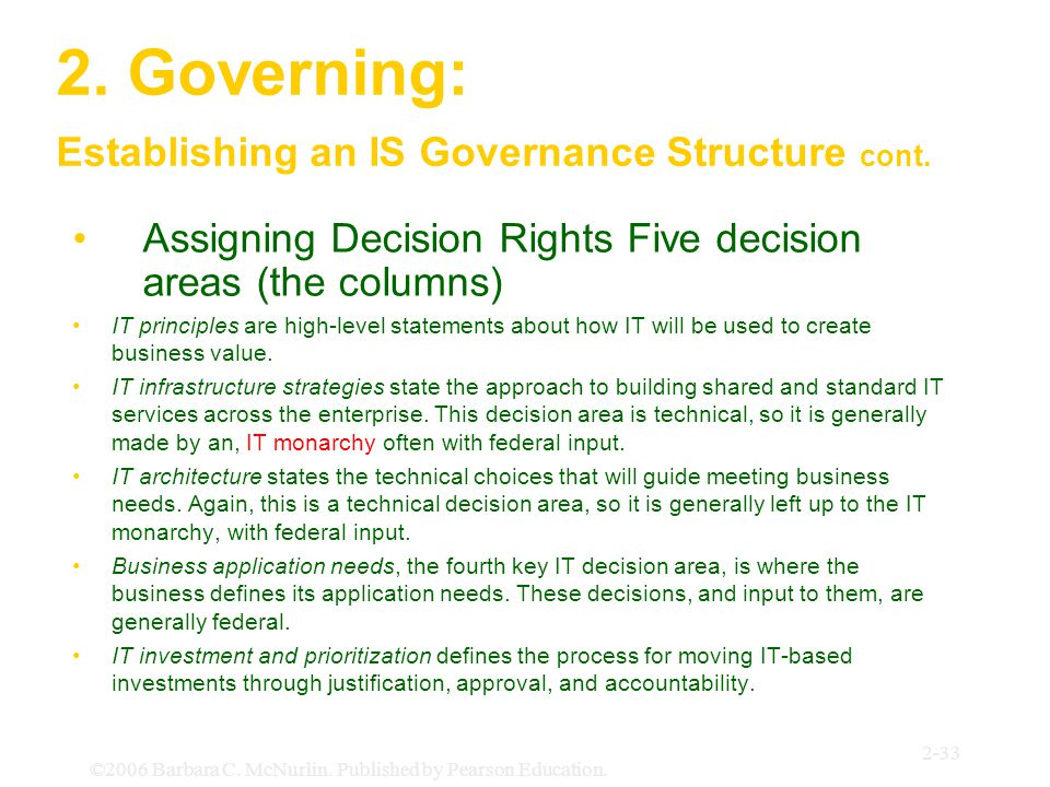 ©2006 Barbara C. McNurlin. Published by Pearson Education. 2-33 2. Governing: Establishing an IS Governance Structure cont. Assigning Decision Rights
