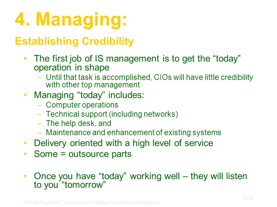 "©2006 Barbara C. McNurlin. Published by Pearson Education. 2-36 4. Managing: Establishing Credibility The first job of IS management is to get the ""to"