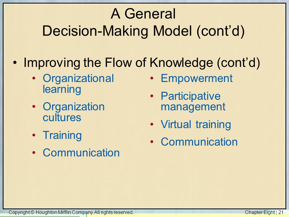 Copyright © Houghton Mifflin Company. All rights reserved.Chapter Eight   21 A General Decision-Making Model (cont'd) Improving the Flow of Knowledge