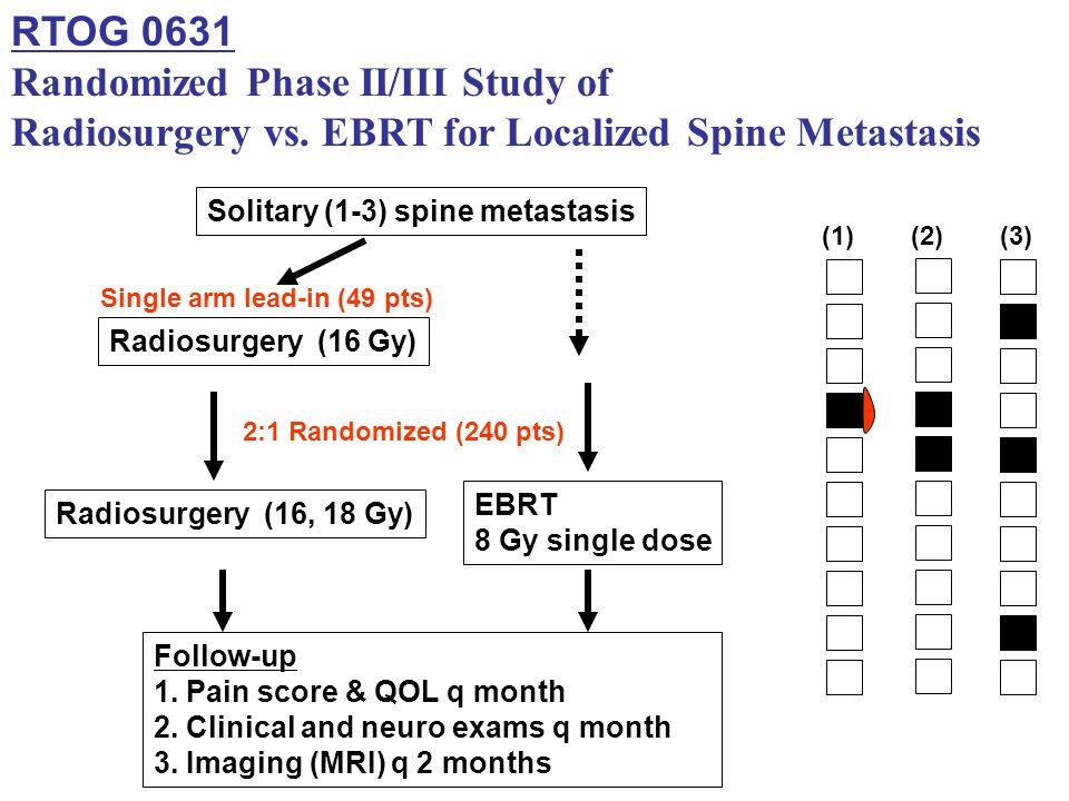 RTOG 0631 Randomized Phase II/III Study of Radiosurgery vs. EBRT for Localized Spine Metastasis Solitary (1-3) spine metastasis Radiosurgery (16 Gy) F