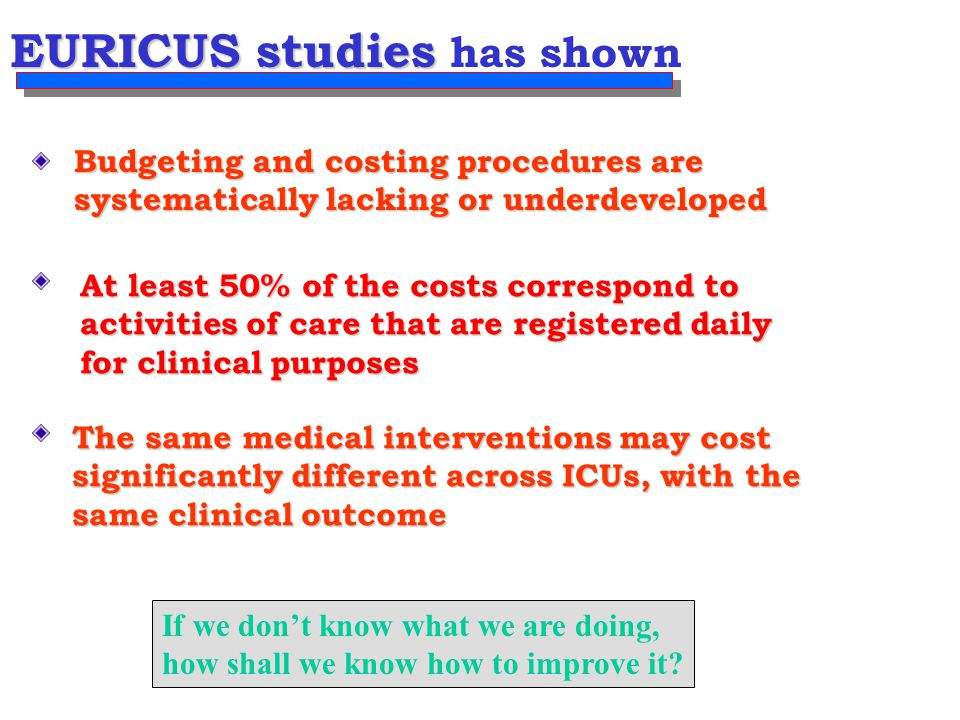 EURICUS studies EURICUS studies has shown Budgeting and costing procedures are systematically lacking or underdeveloped At least 50% of the costs correspond to activities of care that are registered daily for clinical purposes The same medical interventions may cost significantly different across ICUs, with the same clinical outcome If we don't know what we are doing, how shall we know how to improve it?