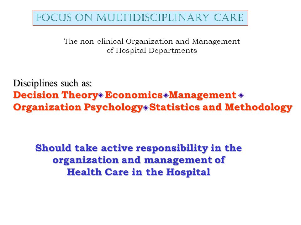 The non-clinical Organization and Management of Hospital Departments Focus on multidisciplinary care Disciplines such as: Decision Theory Economics Management Organization Psychology Statistics and Methodology Should take active responsibility in the organization and management of Health Care in the Hospital