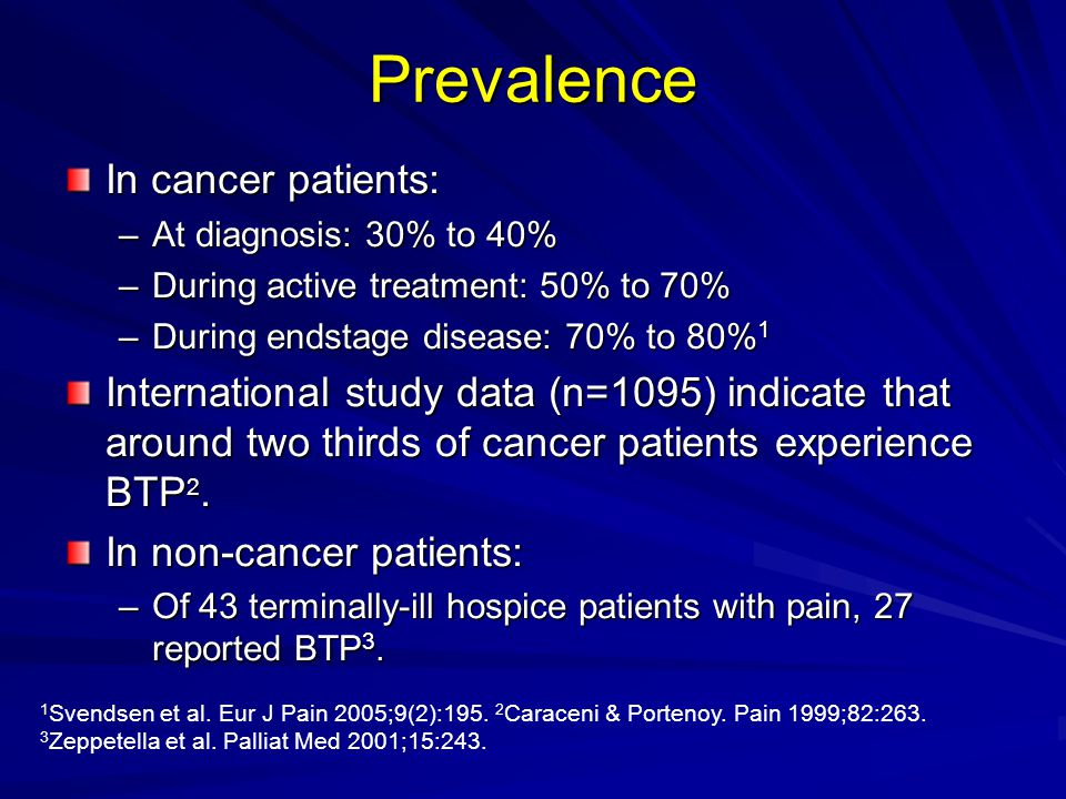 Prevalence In cancer patients: –At diagnosis: 30% to 40% –During active treatment: 50% to 70% –During endstage disease: 70% to 80% 1 International stu