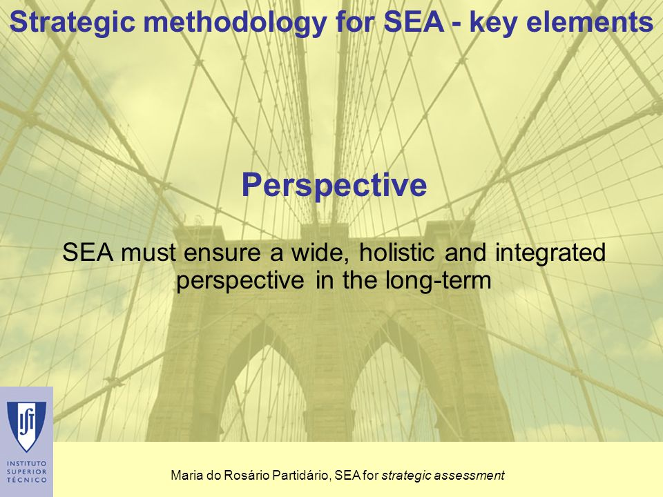 Maria do Rosário Partidário, SEA for strategic assessment Perspective SEA must ensure a wide, holistic and integrated perspective in the long-term Strategic methodology for SEA - key elements