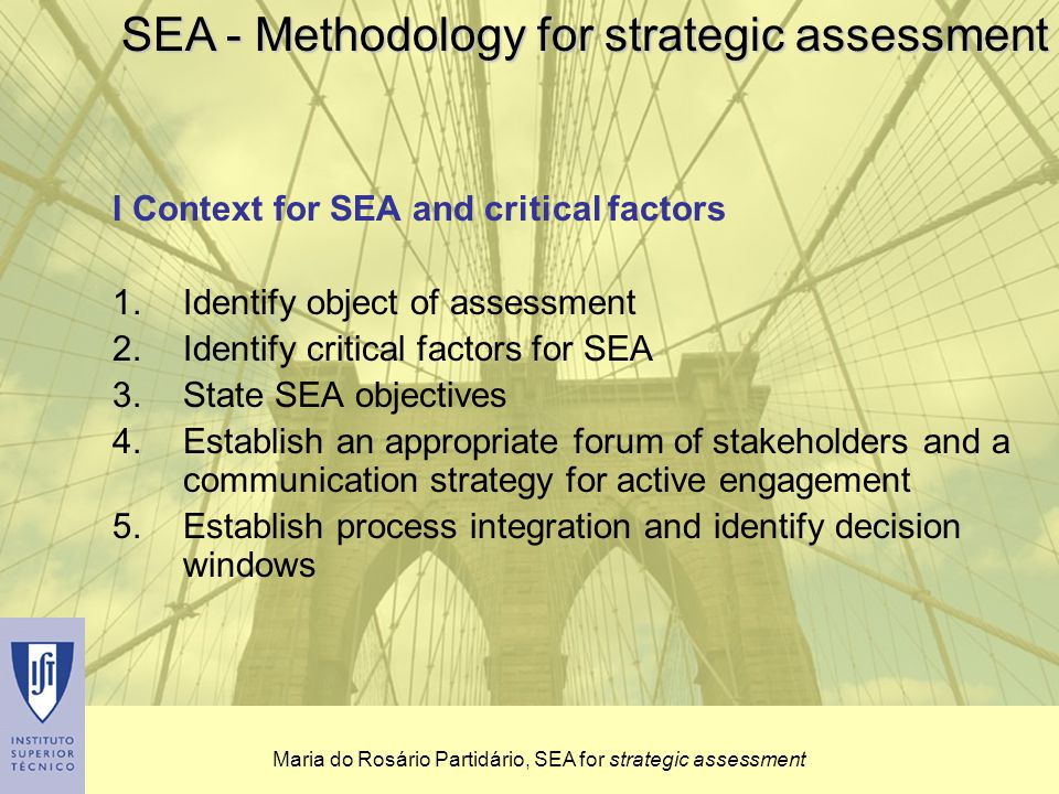 Maria do Rosário Partidário, SEA for strategic assessment I Context for SEA and critical factors 1.