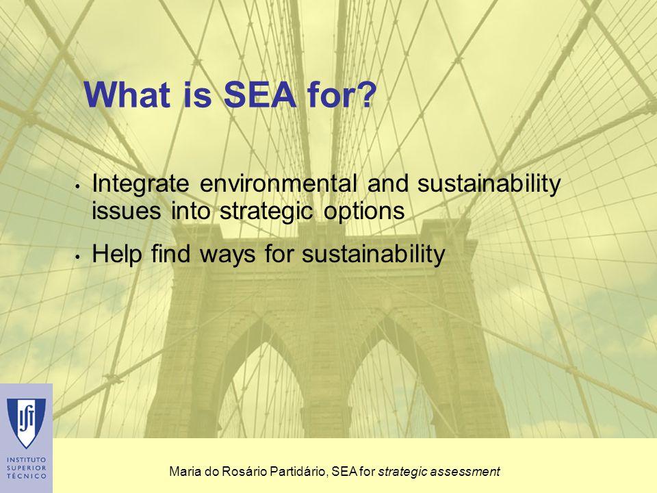 Maria do Rosário Partidário, SEA for strategic assessment It needs: short and fast-track steps, a comprehensive understanding and a flexible intervention Strategic assessment approach - key assumptions