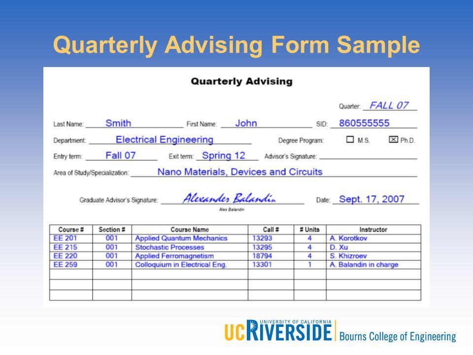 Quarterly Advising Form Sample
