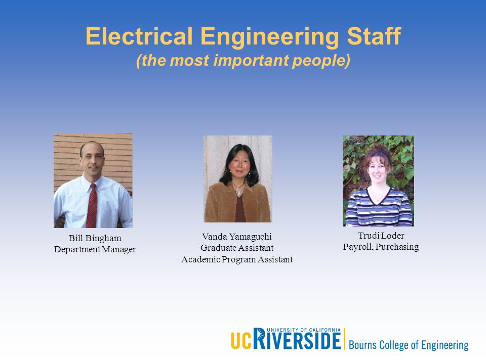 Electrical Engineering Staff (the most important people) Bill Bingham Department Manager Trudi Loder Payroll, Purchasing Vanda Yamaguchi Graduate Assi