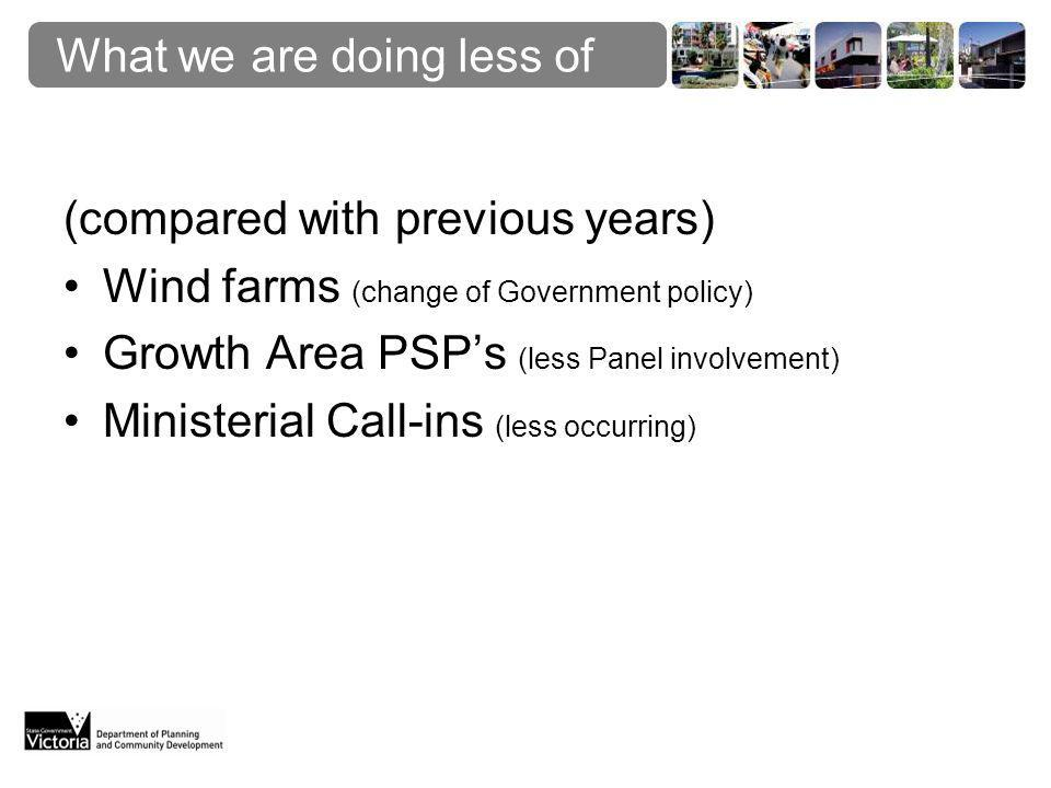What we are doing less of (compared with previous years) Wind farms (change of Government policy) Growth Area PSP's (less Panel involvement) Ministerial Call-ins (less occurring)