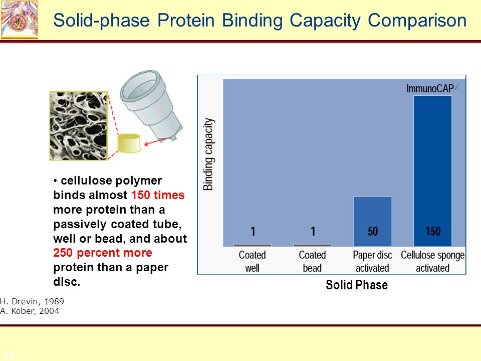 43 H. Drevin, 1989 A. Kober, 2004 Solid-phase Protein Binding Capacity Comparison Solid Phase cellulose polymer binds almost 150 times more protein th
