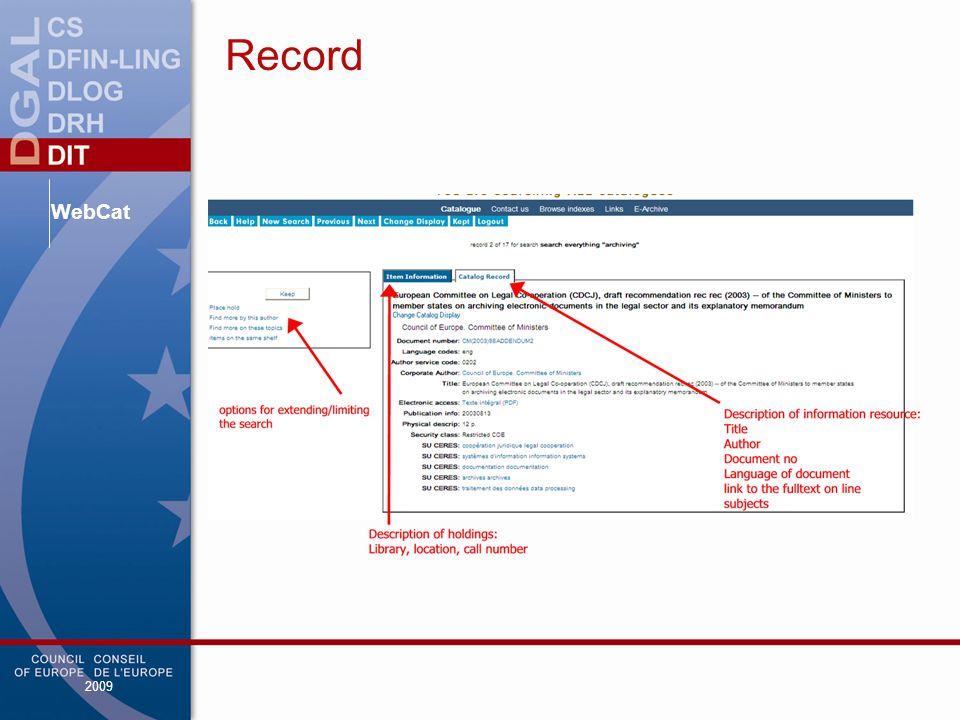 WebCat 2009 Record