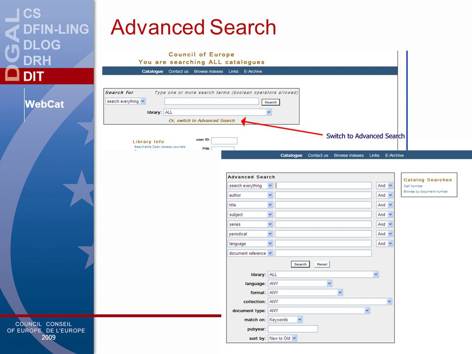 WebCat 2009 Advanced Search