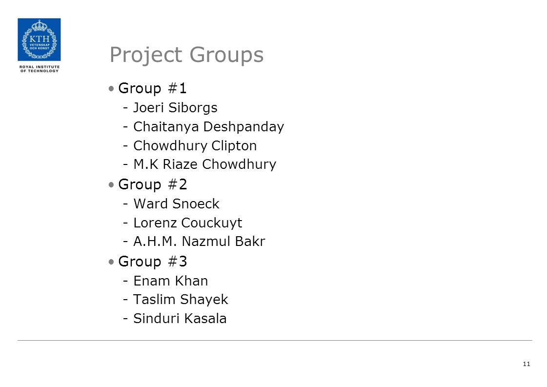 11 Project Groups Group #1 -Joeri Siborgs -Chaitanya Deshpanday -Chowdhury Clipton -M.K Riaze Chowdhury Group #2 -Ward Snoeck -Lorenz Couckuyt -A.H.M.