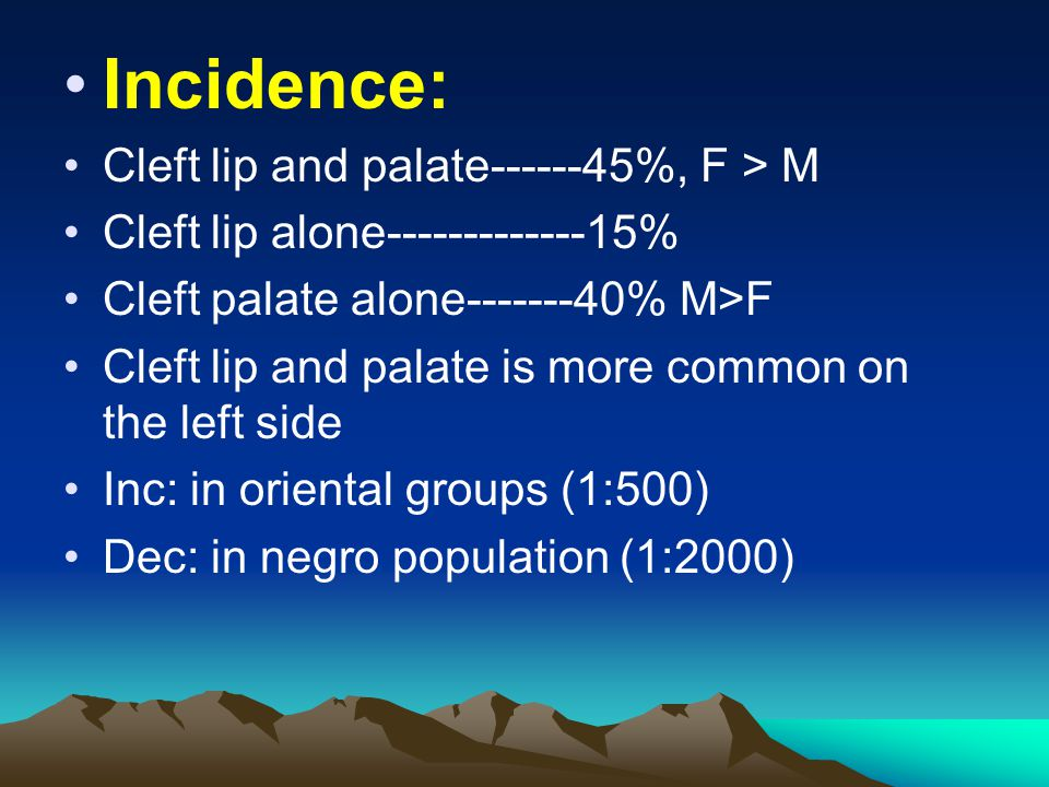 Incidence: Cleft lip and palate------45%, F > M Cleft lip alone-------------15% Cleft palate alone-------40% M>F Cleft lip and palate is more common o