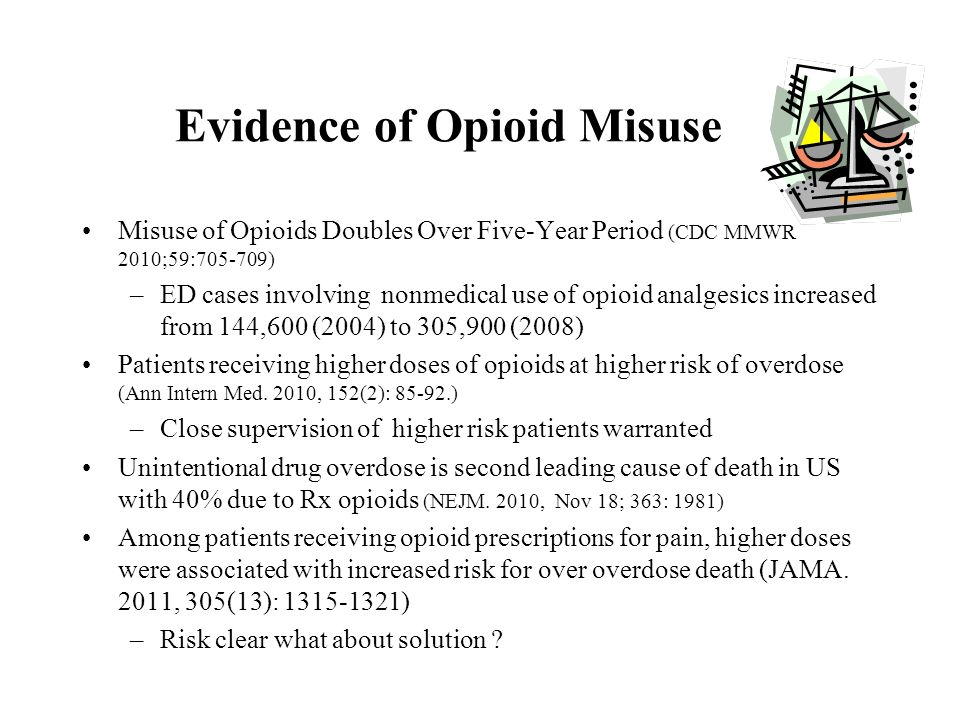 Evidence of Opioid Misuse Misuse of Opioids Doubles Over Five-Year Period (CDC MMWR 2010;59:705-709) –ED cases involving nonmedical use of opioid anal