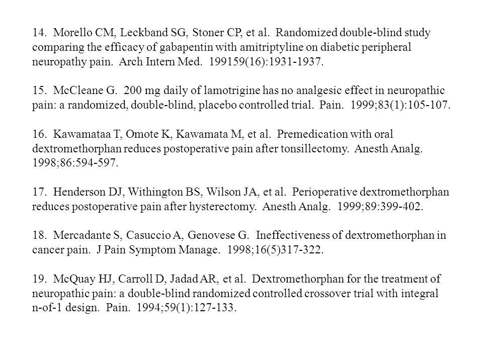 14. Morello CM, Leckband SG, Stoner CP, et al. Randomized double-blind study comparing the efficacy of gabapentin with amitriptyline on diabetic perip