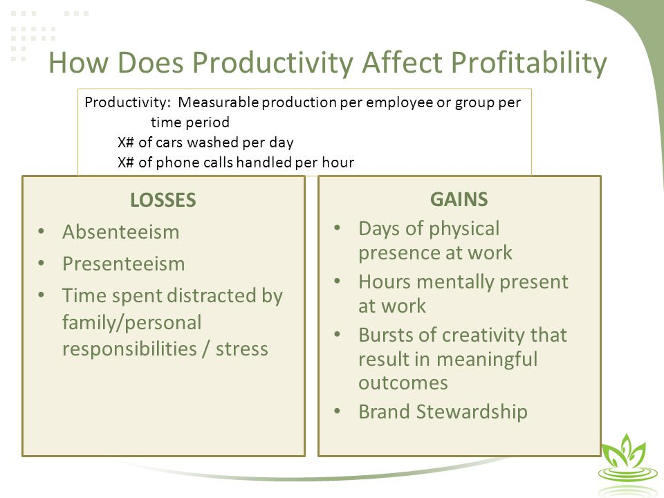 How Does Productivity Affect Profitability GAINS Days of physical presence at work Hours mentally present at work Bursts of creativity that result in meaningful outcomes Brand Stewardship LOSSES Absenteeism Presenteeism Time spent distracted by family/personal responsibilities / stress Productivity: Measurable production per employee or group per time period X# of cars washed per day X# of phone calls handled per hour