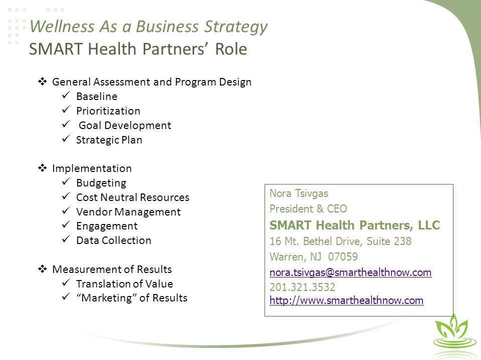 Nora Tsivgas President & CEO SMART Health Partners, LLC 16 Mt.