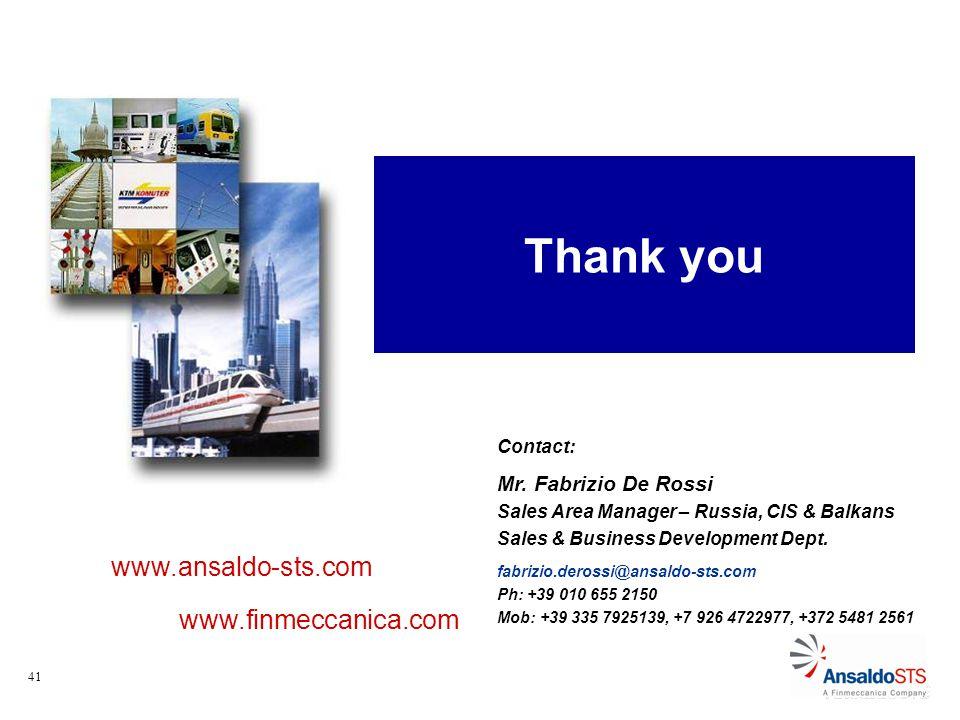 41 Thank you www.ansaldo-sts.com www.finmeccanica.com Contact: Mr.