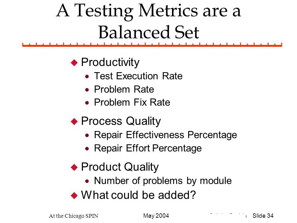 © John Durbin Slide 34May 2004 At the Chicago SPIN A Testing Metrics are a Balanced Set u Productivity  Test Execution Rate  Problem Rate  Problem Fix Rate u Process Quality  Repair Effectiveness Percentage  Repair Effort Percentage u Product Quality  Number of problems by module u What could be added?
