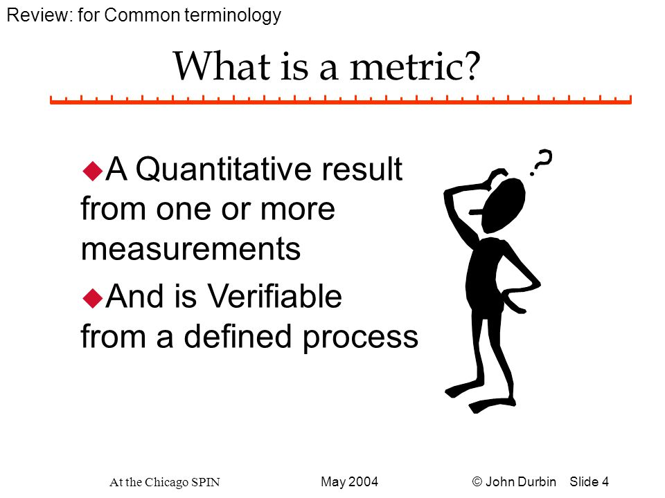 © John Durbin Slide 15May 2004 At the Chicago SPIN Cook Book Recipe: Two Dimensions to Build u First, VERTICALLY Build alignment to Goals and Metrics above you.