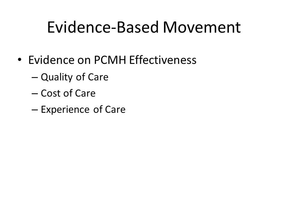 Evidence-Based Movement Evidence on PCMH Effectiveness – Quality of Care – Cost of Care – Experience of Care