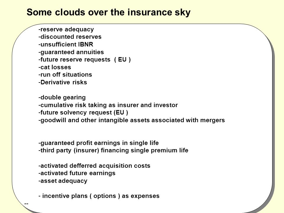 Some clouds over the insurance sky -reserve adequacy -discounted reserves -unsufficient IBNR -guaranteed annuities -future reserve requests ( EU ) -cat losses -run off situations -Derivative risks -double gearing -cumulative risk taking as insurer and investor -future solvency request (EU ) -goodwill and other intangible assets associated with mergers -guaranteed profit earnings in single life -third party (insurer) financing single premium life -activated defferred acquisition costs -activated future earnings -asset adequacy - incentive plans ( options ) as expenses--