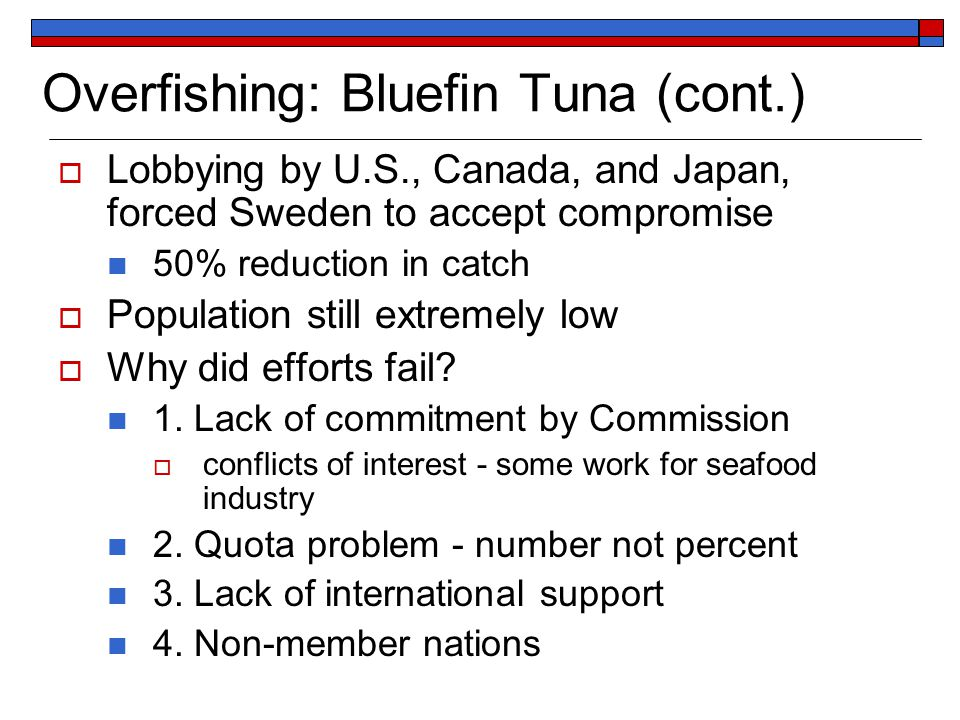 Overfishing: Bluefin Tuna (cont.)  Lobbying by U.S., Canada, and Japan, forced Sweden to accept compromise 50% reduction in catch  Population still extremely low  Why did efforts fail.