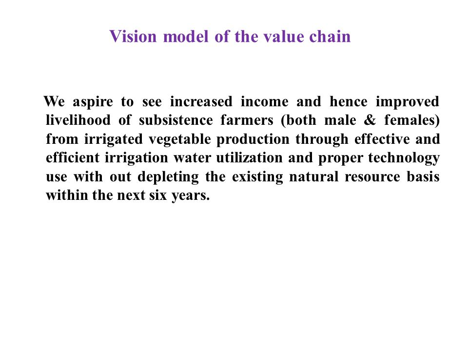 Vision model of the value chain We aspire to see increased income and hence improved livelihood of subsistence farmers (both male & females) from irrigated vegetable production through effective and efficient irrigation water utilization and proper technology use with out depleting the existing natural resource basis within the next six years.