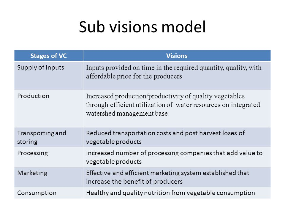 Sub visions model Stages of VCVisions Supply of inputs Inputs provided on time in the required quantity, quality, with affordable price for the producers Production Increased production/productivity of quality vegetables through efficient utilization of water resources on integrated watershed management base Transporting and storing Reduced transportation costs and post harvest loses of vegetable products ProcessingIncreased number of processing companies that add value to vegetable products MarketingEffective and efficient marketing system established that increase the benefit of producers ConsumptionHealthy and quality nutrition from vegetable consumption