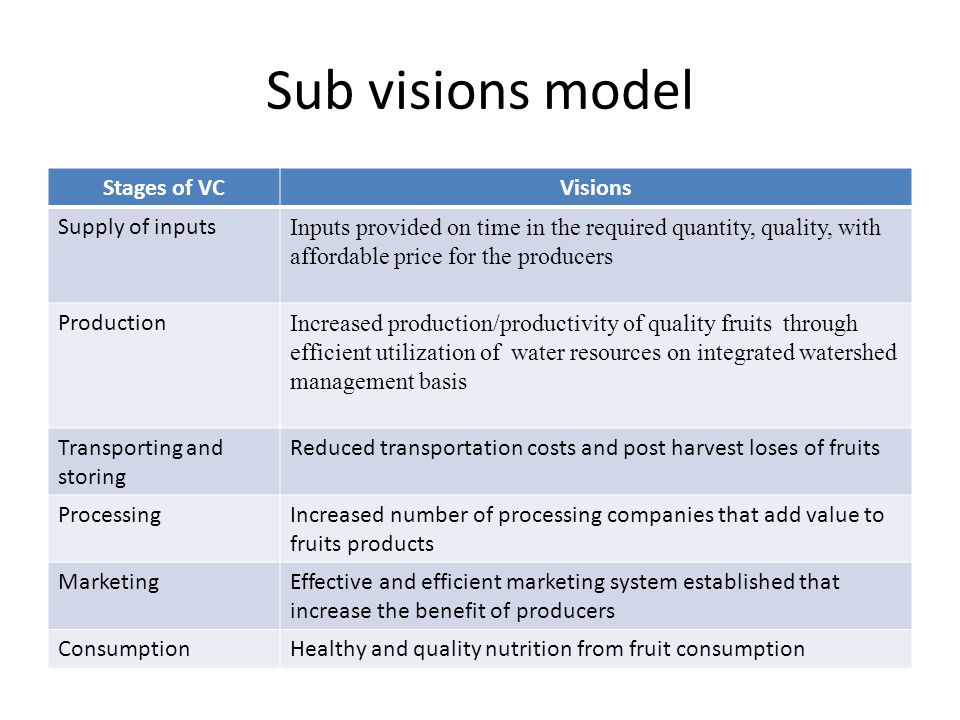 Sub visions model Stages of VCVisions Supply of inputs Inputs provided on time in the required quantity, quality, with affordable price for the produc