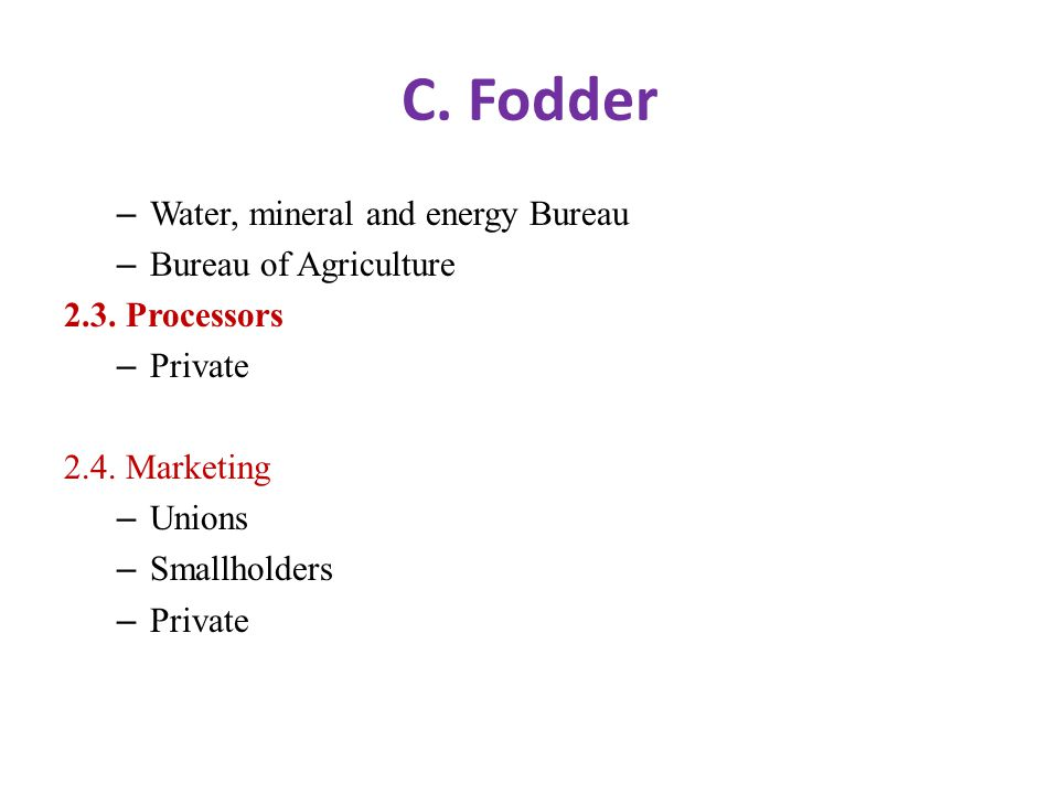 C. Fodder – Water, mineral and energy Bureau – Bureau of Agriculture 2.3.