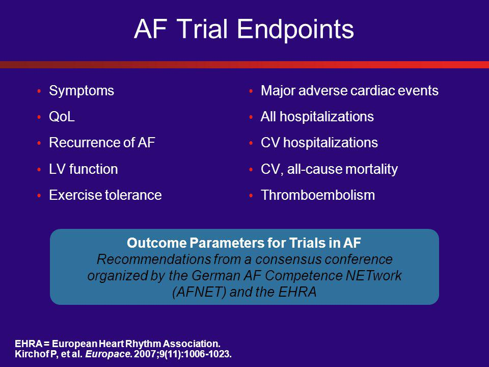 Outcome Parameters for Trials in AF Recommendations from a consensus conference organized by the German AF Competence NETwork (AFNET) and the EHRA EHRA = European Heart Rhythm Association.